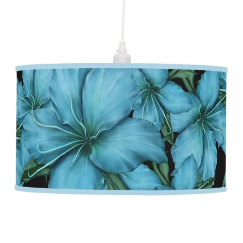 Rich Blue Lilies on Black Ceiling Lamp
