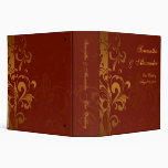 Rich Brick Red and Gold Reverse Swirl 3 Ring Binders