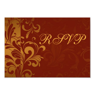 Rich Brick Red and Gold Reverse Swirl RSVP Personalized Announcement