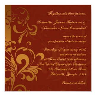 Rich Brick Red and Gold Reverse Swirl Square Card