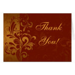 Rich Brick Red and Gold Reverse Swirl Thank You Greeting Cards