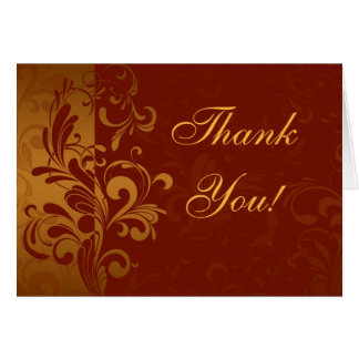 Rich Brick Red and Gold Reverse Swirl Thank You Card
