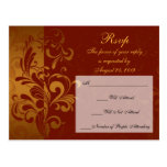 Rich Brick Red / Gold Reverse Swirl RSVP Reply Post Cards
