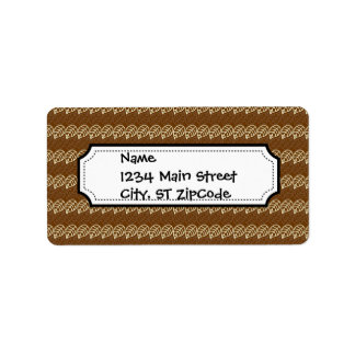 Rich Brown and Linen Fall Harvest Leaf Pattern Label