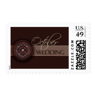 Rich Brown October Wedding Postage Stamps