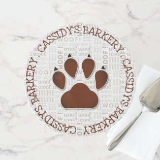 Rich Brown Paw Print for Dog Bakery Business Cake Stand