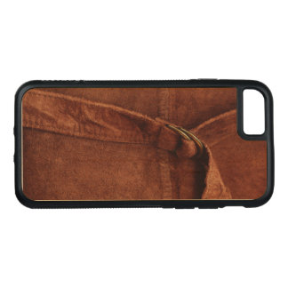 Rich Brown Suede With Strap And Buckle Carved iPhone 7 Case