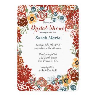 Rich Burgundy Red Flower Wreath Party Invitation