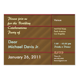 Rich Chocolate Brown with Sample Text 5x7 Paper Invitation Card