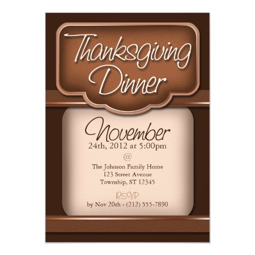 Rich Chocolate Thanksgiving Dinner Invitations