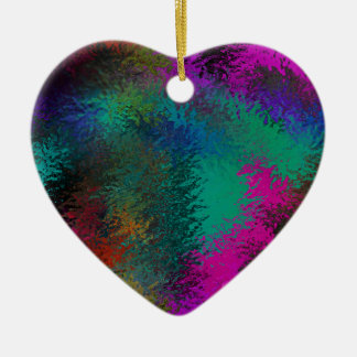 Rich Colorful Splatter Galore Design Double-Sided Heart Ceramic Christmas Ornament