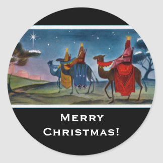 Rich Colorful Wisemen Painting Christmas Classic Round Sticker