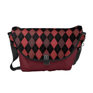 Rich Crimson Red Argyle Classic Messenger Bags