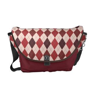 Rich Crimson Red Argyle Classic on Pale Peach Messenger Bags