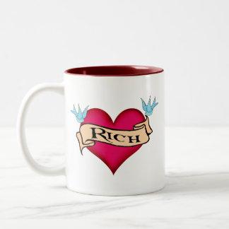 Rich - Custom Heart Tattoo T-shirts & Gifts Two-Tone Coffee Mug