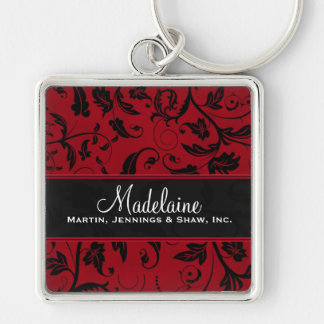 Rich Damask Print in Red and Black Custom Silver-Colored Square Keychain