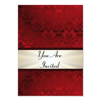 Rich dark red damask & gold 5x7 paper invitation card
