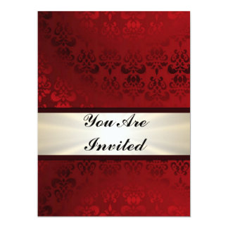 Rich dark red damask & gold 6.5x8.75 paper invitation card