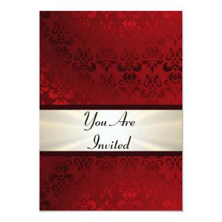 Rich dark red damask & gold 5x7 paper invitation card