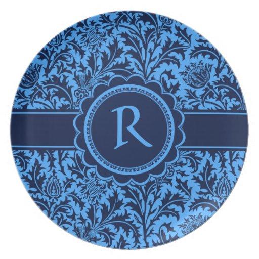 Rich Elegant Blue Floral William Morris Pattern Plates