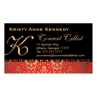 Rich Elegant Red Gold and Black Damask Classical Double-Sided Standard Business Cards (Pack Of 100)