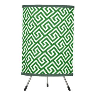 Rich Emerald Green Celtic Key Pattern Tripod Lamp