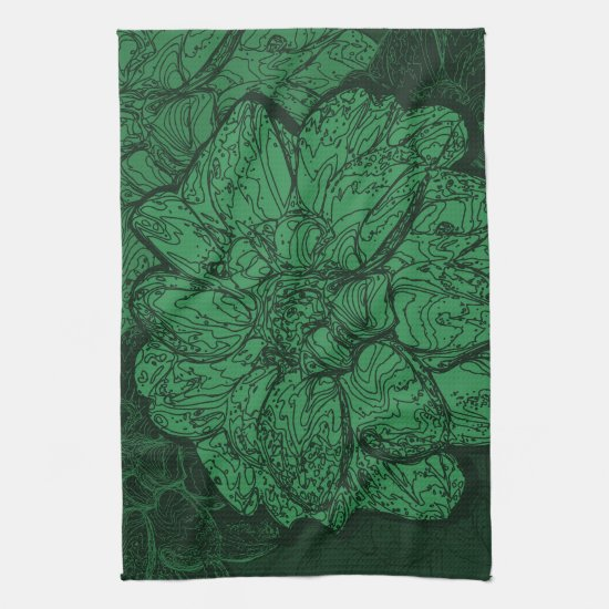 Rich Emerald Green Floral Pattern Kitchen Towel