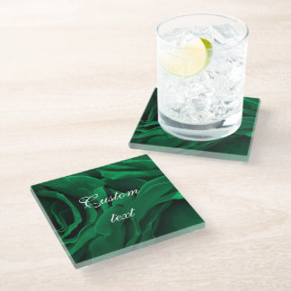 Rich emerald green velvet roses floral photo glass coaster