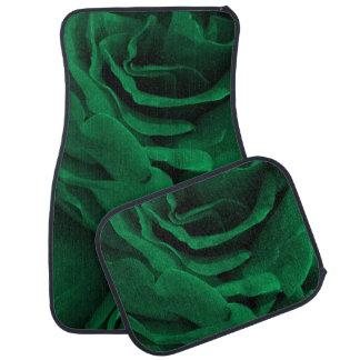 Rich emerald green velvety roses floral photo car mat