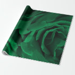 Rich emerald green velvety roses floral photo wrapping paper