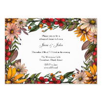 Rich Fall Floral Rehearsal Dinner Invitation