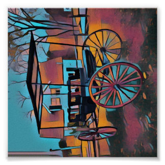 Rich Fall Tones Vintage Carriage Poster