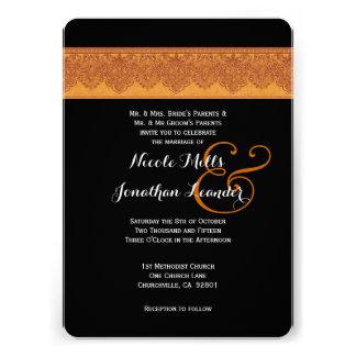 Rich Gold and Black Damask Wedding Template V10 Custom Invitation