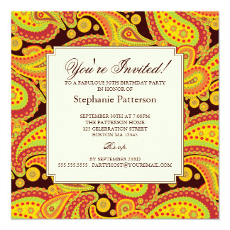 "Rich Gold Paisley Pattern Milestone Birthday Party 5.25"" Square Invitation Card"