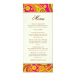 "Rich Gold Paisley Pattern Party Menu Card 4"" X 9.25"" Invitation Card"
