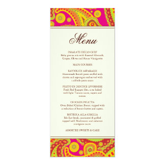 "Rich Gold Paisley Pattern Party Menu Card 4"" X 9.25"" Invitation Card"