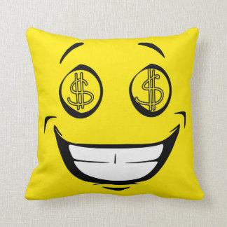 Rich Greedy Money Eyes Yellow Smiley Face Throw Pillow