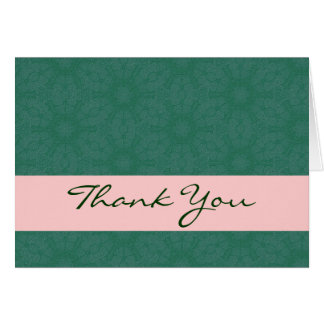 Rich Green and Pink Elegant Thank You H208 Cards