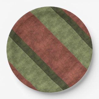Rich Green and Wine Uneven Stripes Paper Plate