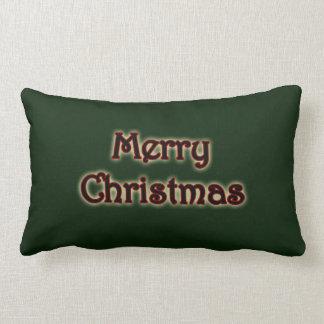 Rich Green Glow Merry Christmas Lumbar Pillow