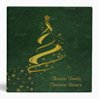 Rich Green & Gold Stars Christmas Album Binder