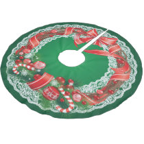 Rich Green Ombre  with Lace Christmas Wreath Brushed Polyester Tree Skirt