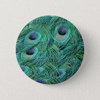 Rich Green Peacock Pinback Button