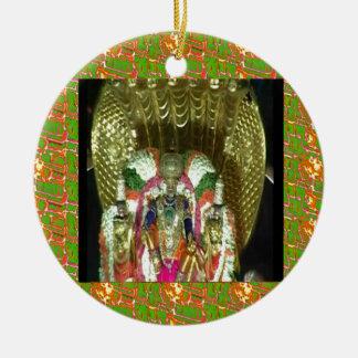 RICH HERITAGE Tirupati Temple: Lord Vishnu Double-Sided Ceramic Round Christmas Ornament