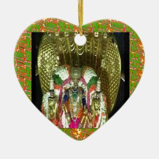 RICH HERITAGE Tirupati Temple: Lord Vishnu Double-Sided Heart Ceramic Christmas Ornament