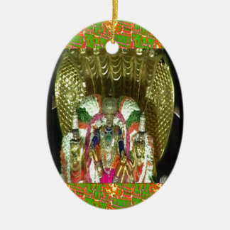 RICH HERITAGE Tirupati Temple: Lord Vishnu Double-Sided Oval Ceramic Christmas Ornament
