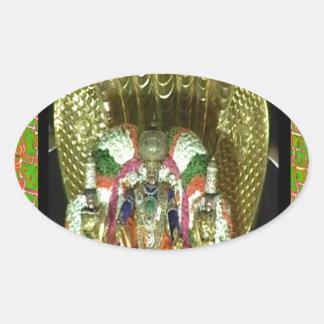 RICH HERITAGE Tirupati Temple: Lord Vishnu Oval Sticker