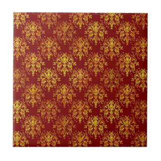 Rich Holiday Damask Ceramic Tile