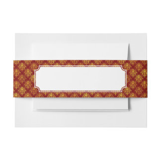 Rich Holiday Damask Invitation Belly Band