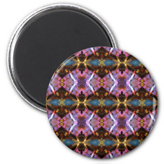 Rich Jewel Tones Abstract Fractal Tribal Pattern 2 Inch Round Magnet